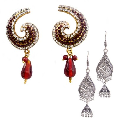 MK Jewellers Victoria AD stone Dark red coral & Oxidized German silver Earring Combo Brass, Copper Earring Set