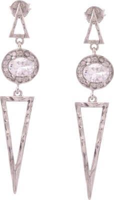 Kuhuk Sparkling Triangles Cubic Zirconia, Topaz Silver Drop Earring