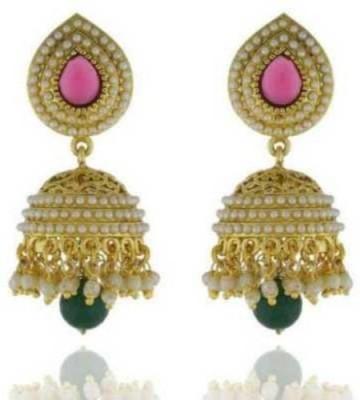 Happyshoppi New Fancy Pearl Brass, Copper Jhumki Earring