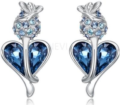 Nevi Blue Designer Heart Swarovski Crystal Alloy Stud Earring