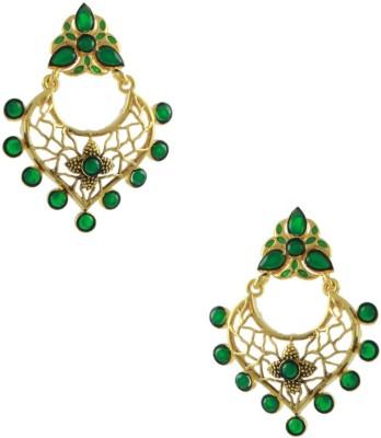 Orniza Rajwadi Earrings in Green Color and Golden Polish Brass Dangle Earring