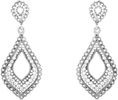 Donna White Leaf Mesh Crystal Metal Drop Earring