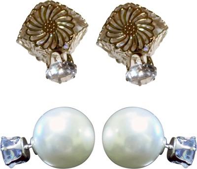 Subharpit Lovely Set of 2 Designer Double Sided Crystal Alloy Earring Set