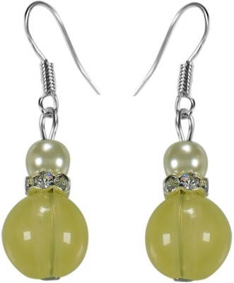 Crystals & Beads Citrine Yellow Colour Round Moonball & White Pearl with Diamond Spacer Acrylic, Glass, Crystal Dangle Earring