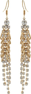 One Stop Fashion Exclusive Long Gold Colour With White Stone Alloy Dangle Earring