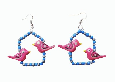 Juhi Malhotra Blue And Pink Fun Wood Dangle Earring