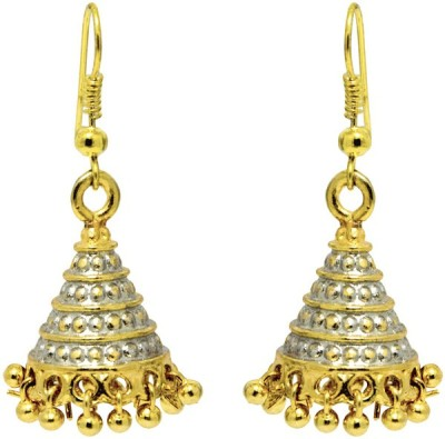Aanya Creations Alloy Embossed design with high quality silver and golden colours polish work Alloy Jhumki Earring
