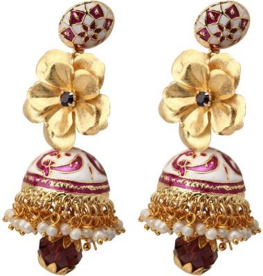Aarya 24kt Gold foil flower Silicone Jhumki Earring