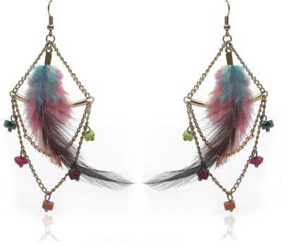 Blueberry Colorful Feather Metal, Glass Dangle Earring
