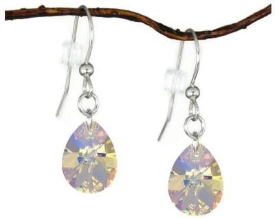Lexuva Crystal Medium Pear Sterling Silver Earrings Crystal Dangle Earring