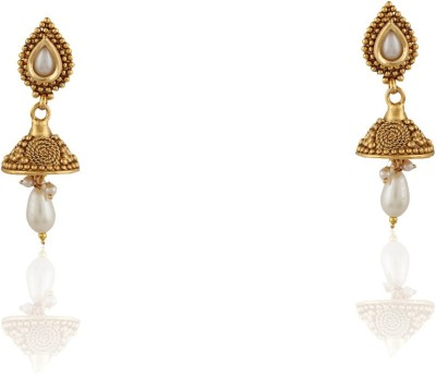 AccessHer Royal Antique Rajwadi Styled Jewellery Cubic Zirconia Copper Jhumki Earring