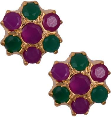 Mahaveer Pearls Glowing Pink & Green Brass Stud Earring