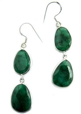 Miska Silver Beautiful Emerald Silver Dangle Earring