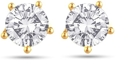 Jewels Guru Just Like Diamond Cubic Zirconia Brass Stud Earring