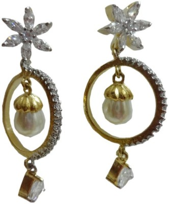 Paridhi Jewels Long earring with bali Cubic Zirconia Alloy Dangle Earring