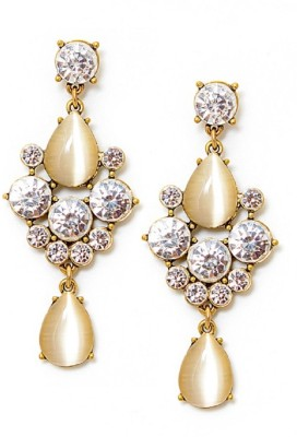Fabula Gold & White Zircon American Diamond AD CZ Jewellery for Women & Girls Metal Drop Earring
