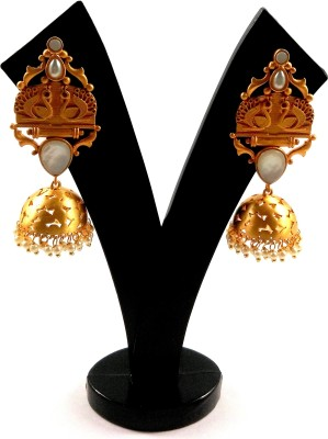 KRAFTZILLA GOLD PLATED PEACOCK DESIGN EARRING Pearl, Mother of Pearl Brass Jhumki Earring