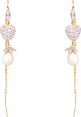 Abhijewels Cubic Zirconia, Pearl Alloy Ear Thread