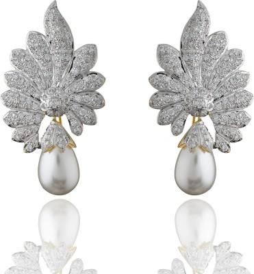 Chaahat Fashion Jewellery Beautiful Flower Shape Cubic Zirconia Copper Stud Earring