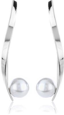 Thingalicious Drop Pearl Metal Dangle Earring
