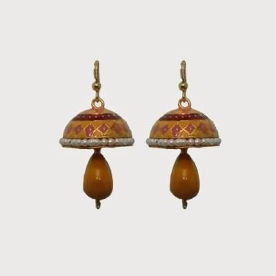 Indianpasand Ethnic with Yellow Bead Alloy Dangle Earring
