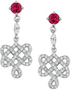 TUAN Sparkling dangle Diamond, Cubic Zirconia, Ruby Sterling Silver Drop Earring