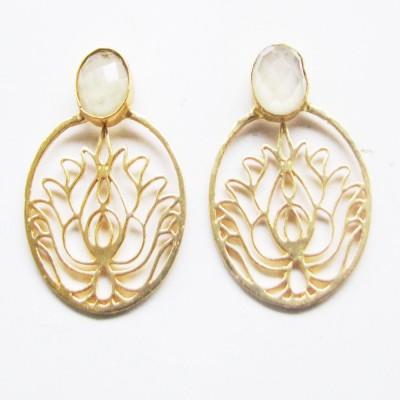 Bhrti semi precious Gold plated Onyx Brass Stud Earring