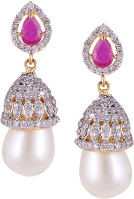 Mahaveer Pearls Gold Polished Cubic Zirconia, Pink Coloured Stones & Pearl Pearl, Cubic Zirconia Brass Drop Earring