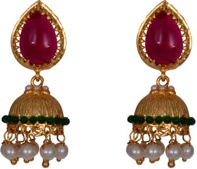 Mahaveer Pearls Radiant Green Brass Jhumki Earring