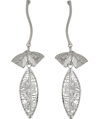 One Stop Fashion Graceful And Glamorous Silver Colour Leaf Shaped Long Alloy Drop Earring