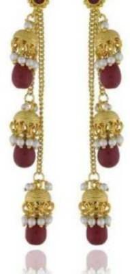 Happyshoppi Beautiful Pearl Brass, Copper Drop Earring