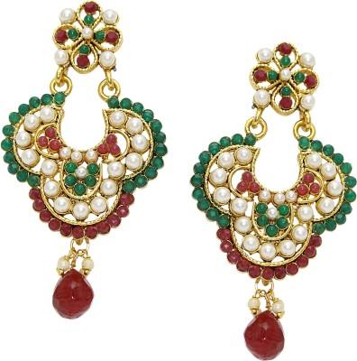 Aarnaa Tricolour Gold Plated Earing Alloy Chandelier Earring