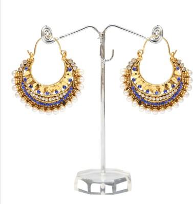 Kashvi Spring Sparkle Pearl, Zircon Brass Chandbali Earring
