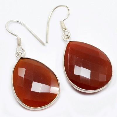 Silvesto India 1451 Carnelian Sterling Silver Dangle Earring
