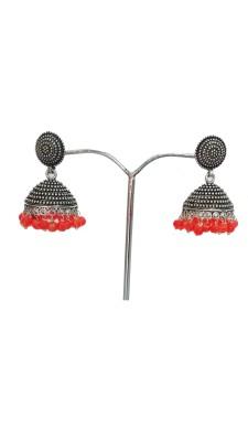 modifier Orange Hat Beads Alloy Jhumki Earring
