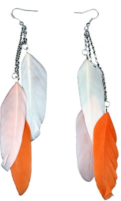 Ammvi Tri-Orange Shades Feather For Women Alloy Dangle Earring