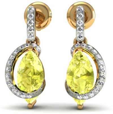 R S Jewels Creative Designs Yellow Gold 18kt Diamond, Quartz Drop Earring