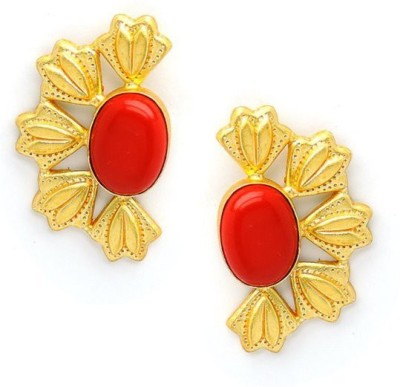 Seven Jewels Coral Blast Coral Brass, Alloy Stud Earring
