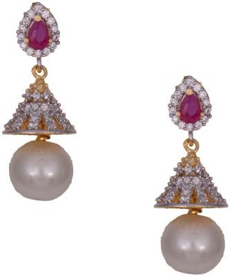 Mahaveer Pearls Sensuous Pink Brass Drop Earring