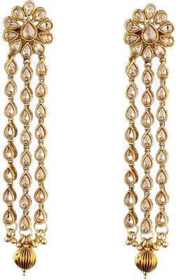 NEnterprises Gold Plated Polki-3 Chain Metal Dangle Earring