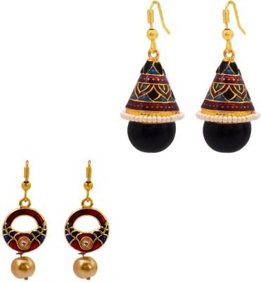 MK Jewellers Shanku and drop earring Combo Brass, Copper Earring Set