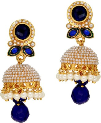 Jaipur Mart Blue Stone and Drop Alloy Jhumki Earring