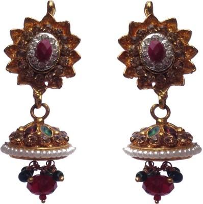 Kundaan Polki Pair Crystal Copper, Alloy Jhumki Earring