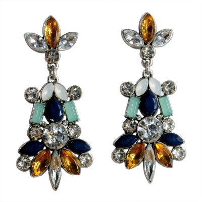 Colors of Sin Yellow black crystal plant Alloy Dangle Earring, Drop Earring