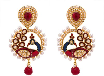 Rajwada Arts Traditional Peacock Design Brass Chandbali Earring
