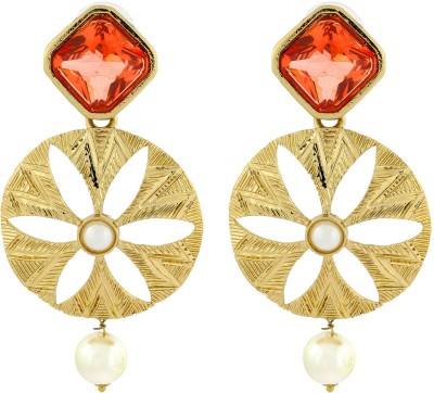 Naveli Gold Plated Filigree With Crystal And Pearl Copper Drop Earring