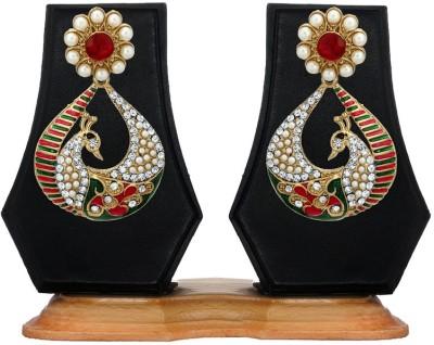 Zaveri Pearls Enameled Peacock Zinc Dangle Earring