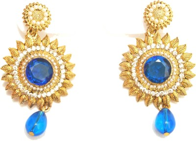 NM Products Blue Sparkle Metal Drop Earring