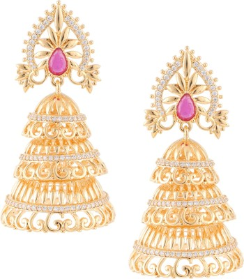Beautiart Gold Plated Cubic Zirconia Alloy Jhumki Earring