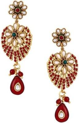 Jewlot Resplendent Floral Kundan s1162 Brass Drop Earring
